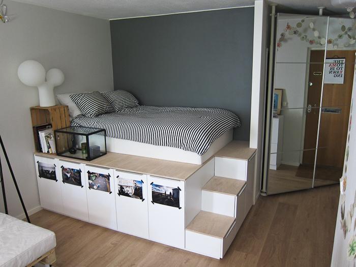 13 trucos para hacer una cama muy original con productos - Armario cama ikea ...