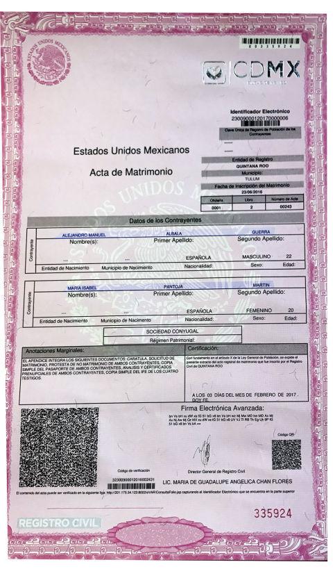 Acta De Matrimonio Simbolico : Chabelita y alejandro son un matrimonio legal en españa